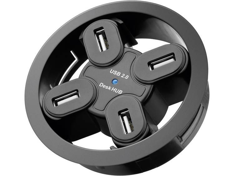 Goobay Inbyggnad 60mm USB 2.0 hub 4 poorten Zwart