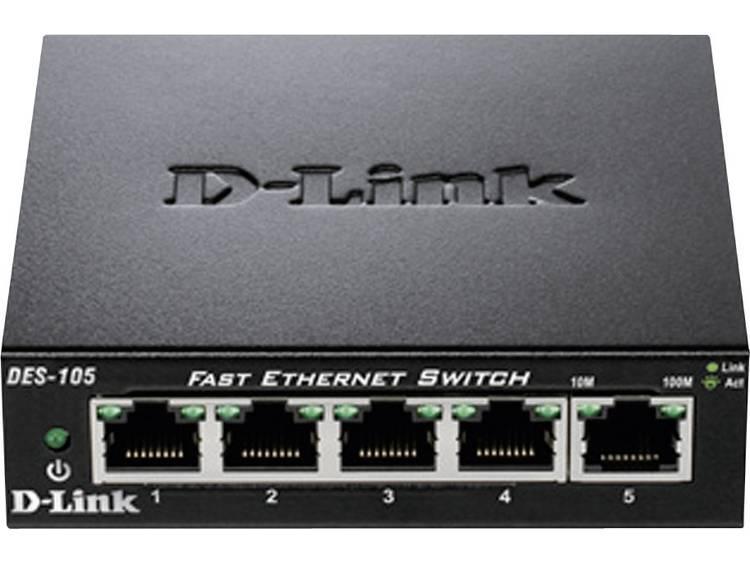 D-Link DES-105 Netwerk switch RJ45 5 poorten 100 Mbit/s