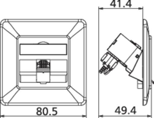 Netwerkdoos Inbouw Inzet met centraalstuk en frame CAT 6A 1 poort Metz Connect 130B12D11002-E Zuiver wit