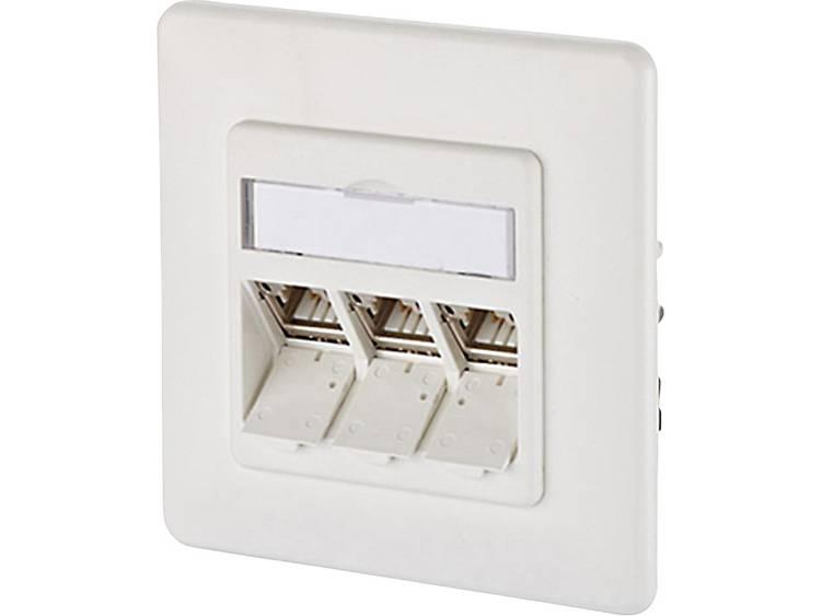 Netwerkdoos Inbouw Inzet met centraalstuk en frame CAT 6A 3 poorten Metz Connect 130B12D31002-E Zuiver wit