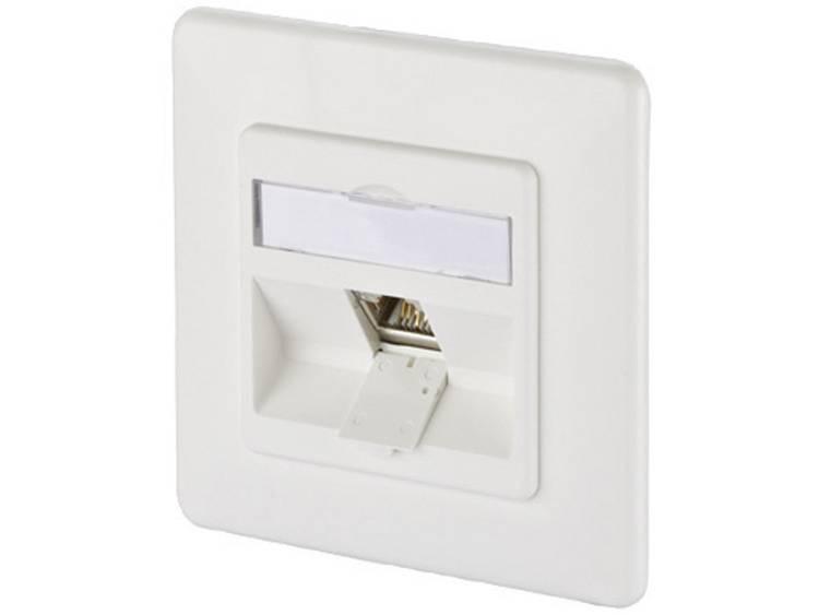 Netwerkdoos Inbouw Inzet met centraalstuk en frame CAT 6A 1 poort Metz Connect 1309111002-E Zuiver wit