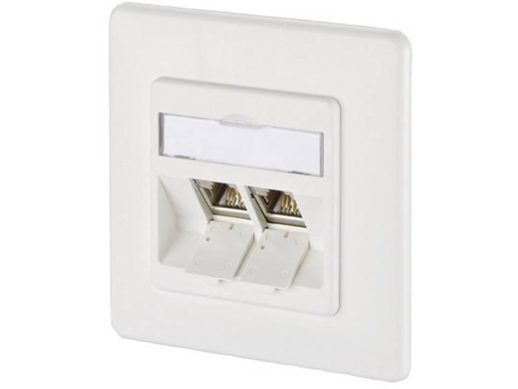 Netwerkdoos Inbouw Inzet met centraalstuk en frame 2 poorten Metz Connect 1309121002-E Zuiver wit