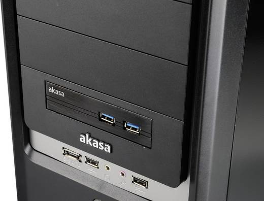 Akasa 2 poorten USB 3.0-front adapter met SSD-, HDD-adapter Zwart
