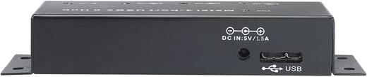 4 poorten USB 3.0 hub metalen behuizing, voor wandmontage Zwart