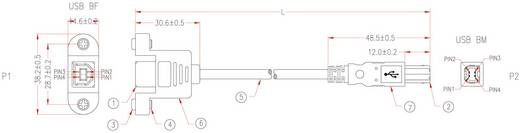 USB 2.0-aansluitkabel met bevestigingsmogelijkheid B st/B bus 3 m