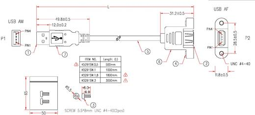 EFB Elektronik USB 2.0 Verlengkabel [1x USB 2.0 stekker A - 1x USB 2.0 bus A] 3 m Zwart