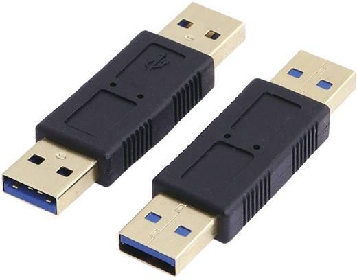 LogiLink USB 3.0 Adapter [1x USB 3.0 stekker A - 1x USB 3.0 stekker A] Zwart Vergulde steekcontacten