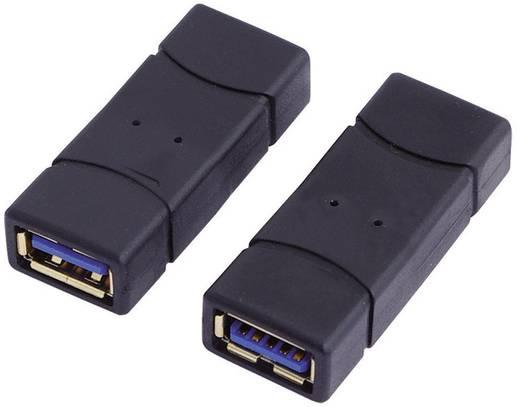 LogiLink USB 3.0 Adapter [1x USB 3.0 bus A - 1x USB 3.0 bus A] Zwart Vergulde steekcontacten