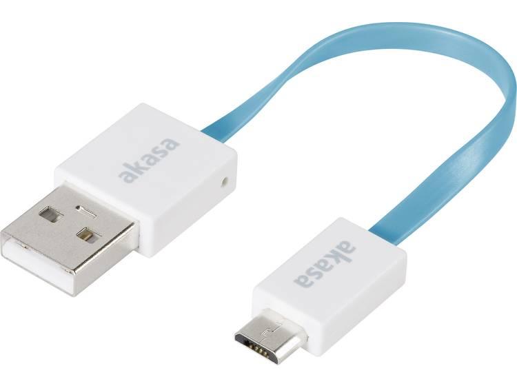 USB 2.0 Kabel Akasa [1x USB-A 2.0 stekker - 1x Micro-USB 2.0 stekker B] 0.15 m Blauw