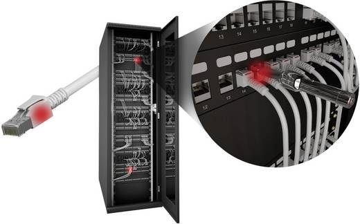 EFB Elektronik RJ45 Netwerk Aansluitkabel CAT 6A S/FTP 0.50 m Wit Met LED, Vlambestendig, Snagless