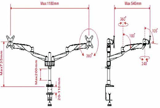 "SpeaKa Professional Flex 2fach mit Grommet- und C-Klemme 2-voudig Monitor-tafelbeugel 25,4 cm (10"") - 68,6 cm (27"") Kant"