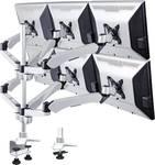 Xergo Flex 6-voudige monitorhouder, tafelmontage met gasdruktechniek me Grommet-klem C-klem