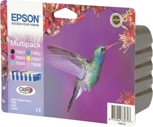 Epson Inkt T0807 Origineel Combipack Zwart, Cyaan, Magenta, Geel, Lichtcyaan, Lichtmagenta C13T08074011
