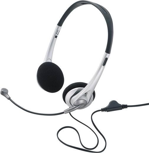 TW-218 PC-headset 3.5 mm jackplug Kabelgebonden, Stereo On Ear Zwart/zilver