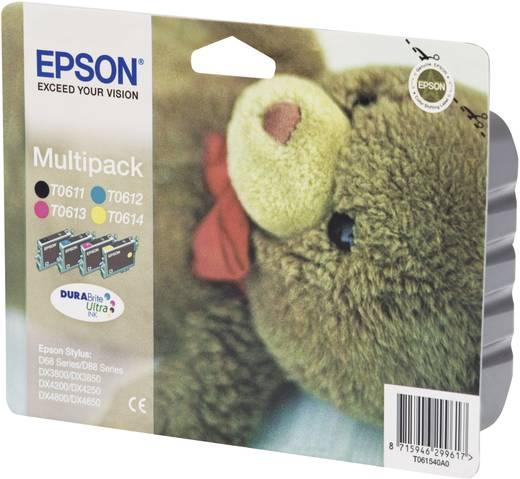 Epson Inkt T0615 Origineel Combipack Zwart, Cyaan, Magenta, Geel C13T06154010