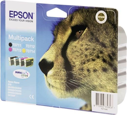 Epson Inkt T0715 Origineel Combipack Zwart, Cyaan, Magenta, Geel C13T07154010