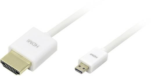 LogiLink HDMI Aansluitkabel [1x HDMI-stekker - 1x HDMI-stekker D micro] 1.50 m Wit
