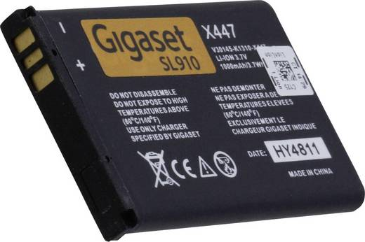 Accu voor draadloze telefoon Gigaset SL910H - reserveaccu Geschikt voor merk: Gigaset Li-ion 3.7 V 1000 mAh
