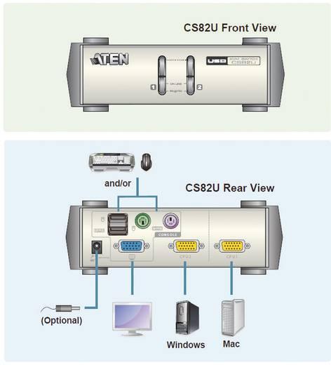 ATEN CS82U-AT 2 poorten KVM-schakelaar VGA USB, PS/2 2048 x 1536 pix