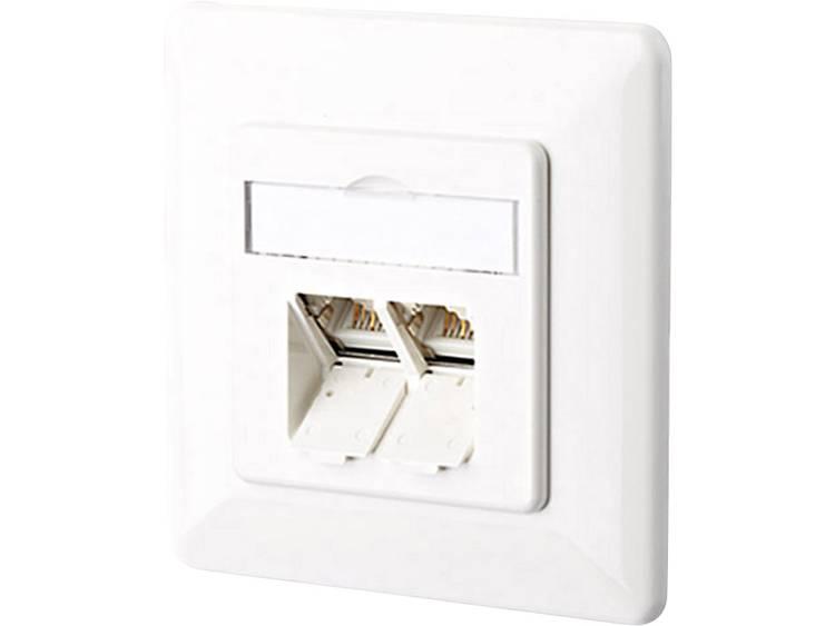 Netwerkdoos Inbouw Inzet met centraalstuk en frame CAT 6A 2 poorten Metz Connect 130C381002-I Zuiver wit