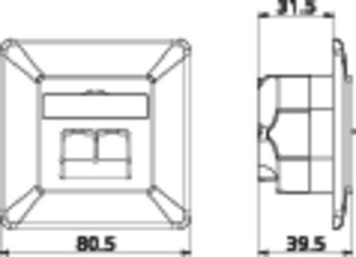 Netwerkdoos Inbouw Inzet met centraalstuk en frame CAT 6A 2 poorten Metz Connect 130C381001-I Parel-wit