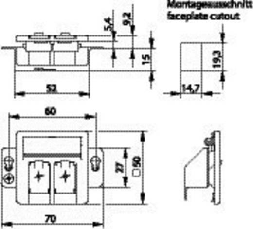 Netwerkdoos Inbouw Inzet met centraalstuk CAT 5e, CAT 6, CAT 6A Telegärtner Alpine-wit