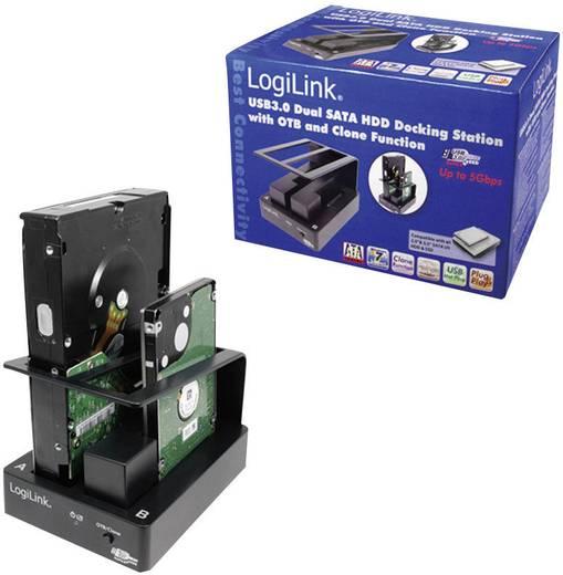 LogiLink QP0010 USB 3.0 SATA Harde schijf-dockingstation 2 poorten met clone-functie, met OTB-functie