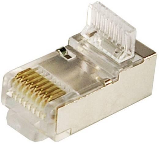 CAT 5e RJ45-connectoren, afgeschermd, set van 100 stuks Stekker, recht Aantal polen: 8P8C Zilver LogiLink MP0004 100 s