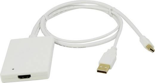 DisplayPort / HDMI Adapter [1x Mini-DisplayPort stekker - 1x HDMI-bus, USB 2.0 stekker A] Wit LogiLink
