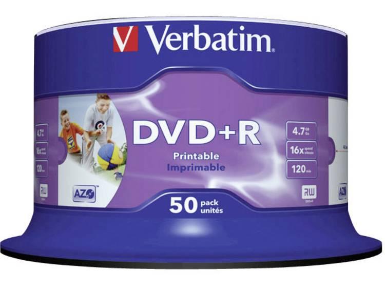 DVD+R disc 4.7 GB Verbatim 43512 50 stuks Spindel Bedrukbaar
