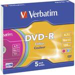 Verbatim DVD-R 16x 5 stuks kleur slimcase