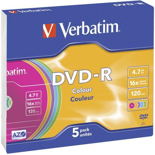 Verbatim DVD-R 43557 5 stuks 4.7 GB 120 min. 5 stuks kleur slimcase