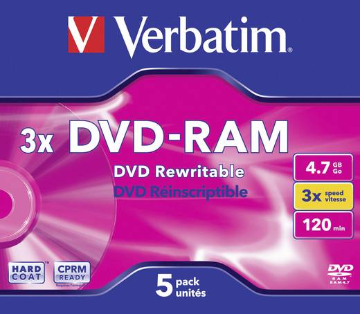 DVD-RAM disc 4.7 GB Verbatim 43450 5 stuks Jewelcase Antikras-coating