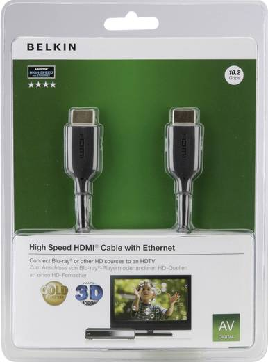 Kabel HDMI Belkin F3Y021bf1M [1x HDMI-stekker - 1x HDMI-stekker] 1 m Zwart