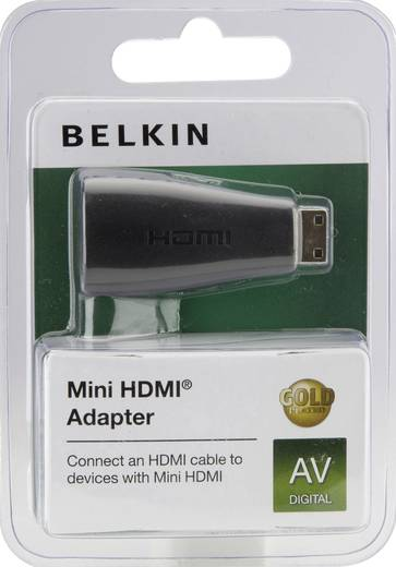 HDMI Adapter [1x HDMI-stekker C mini - 1x HDMI-bus] Zwart Vergulde steekcontacten Belkin