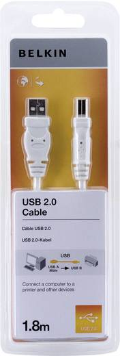 Belkin USB 2.0 Aansluitkabel [1x USB 2.0 stekker A - 1x USB 2.0 stekker B] 1.80 m Wit Vergulde steekcontacten, UL gecertificeerd