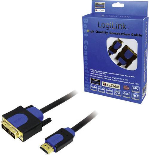 DVI / HDMI Aansluitkabel LogiLink [1x DVI-stekker 18+1-polig - 1x HDMI-stekker] 10 m Zwart