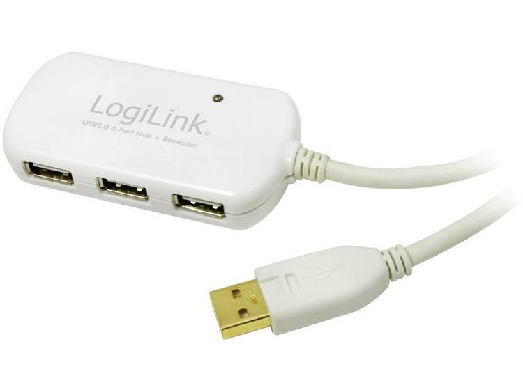 LogiLink USB 2.0 Verlengkabel [1x USB A 2.0 stekker 4x USB 2.0 bus A] 12 m Wit