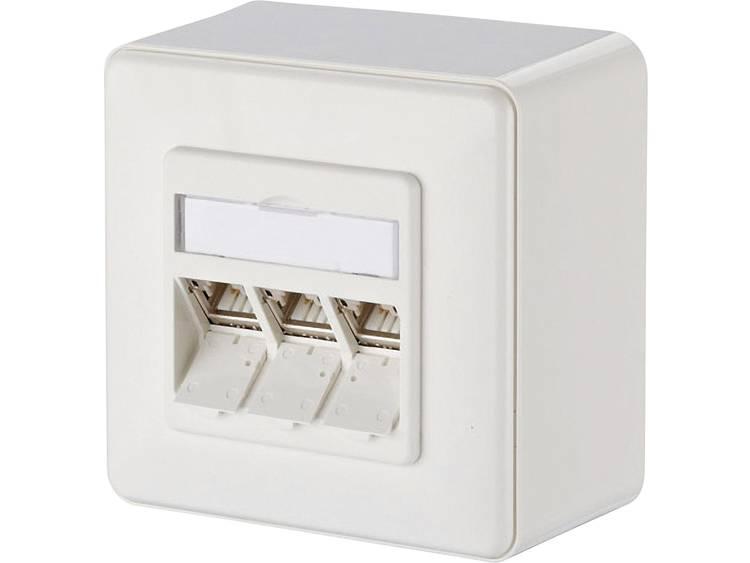 Metz Connect 130B12D30002-E Netwerkdoos Opbouw CAT 6A 3 poorten Zuiver wit