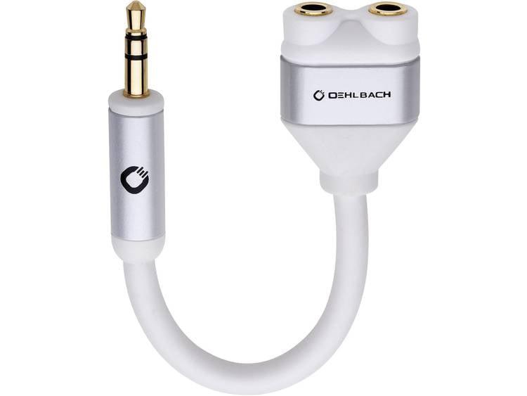 Oehlbach Jackplug Audio Y-adapter [1x Jackplug male 3.5 mm 2x Jackplug female 3.5 mm] Wit