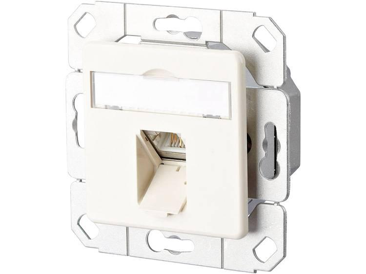 Netwerkdoos Inbouw Inzet met centraalstuk CAT 6A 1 poort Metz Connect Zuiver wit