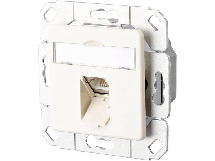 Netwerkdoos Inbouw Inzet met centraalstuk CAT 6 1 poort Metz Connect Parel-wit