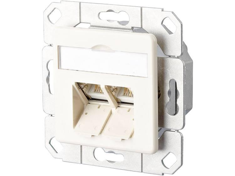 Netwerkdoos Inbouw Inzet met centraalstuk CAT 6 2 poorten Metz Connect Parel-wit