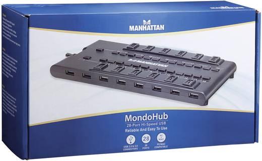 Manhattan 28 poorten USB 3.0-, USB 2.0-combi-hub Mondo Zwart