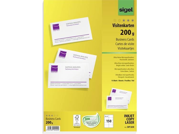 Bedrukbare visitekaarten Sigel DP839 85 x 55 mm 200 g/m² Helderwit 150 stuks