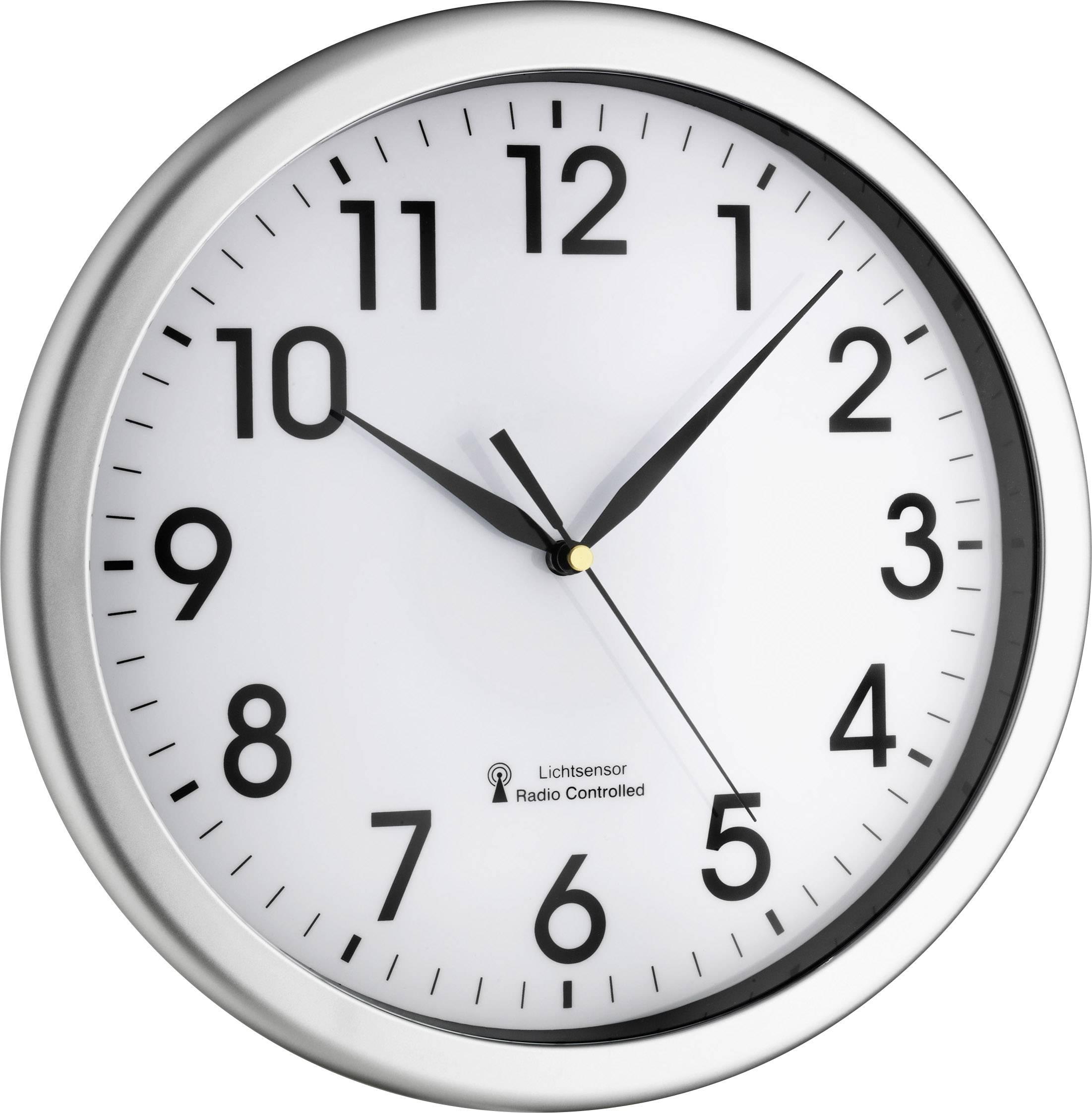 Zegar ścienny Analogowy Tfa 60351902 Sterowany Radiowo Srebrny øxg 308 Cmx43 Cm
