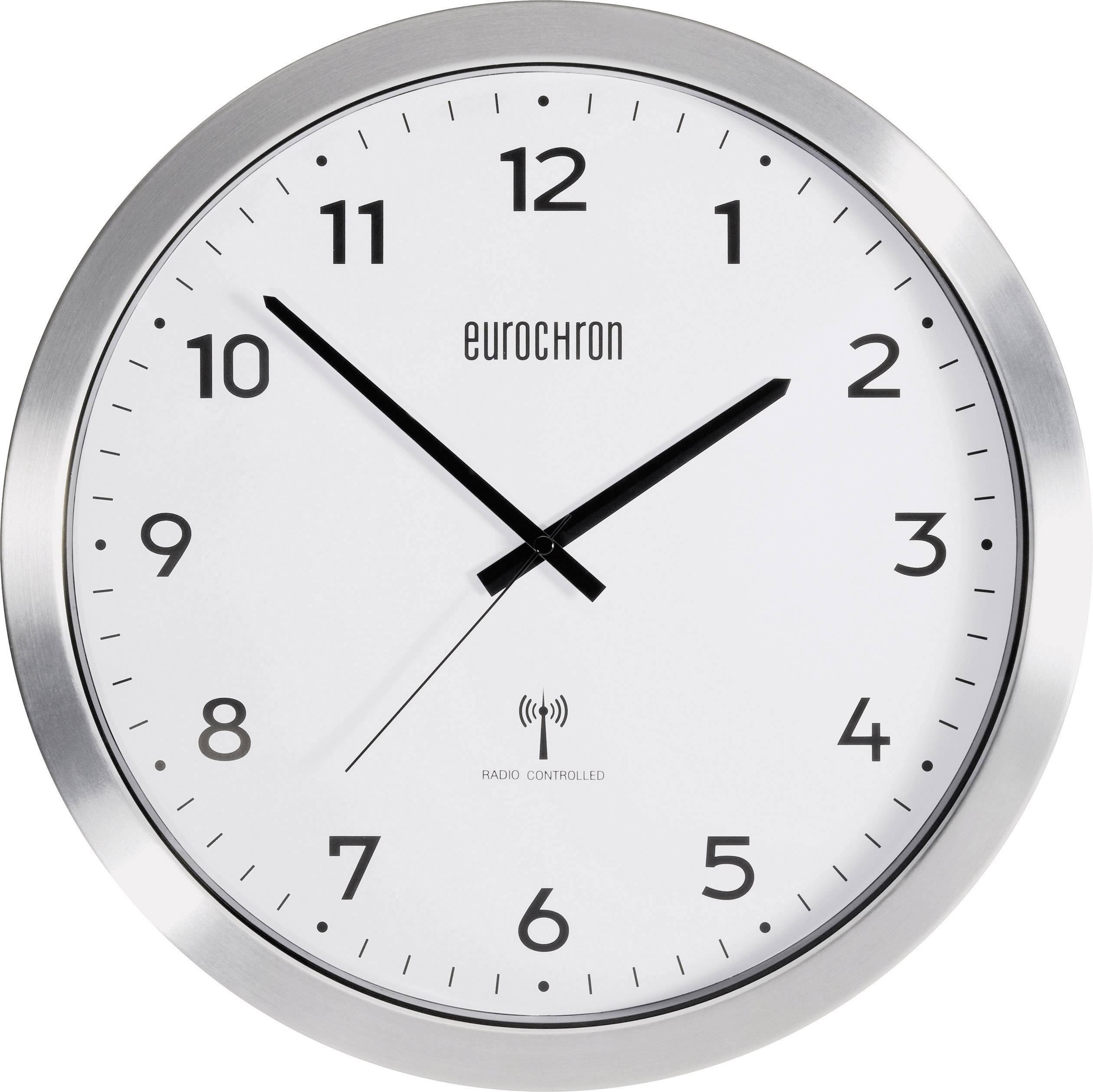Zegar ścienny Analogowy Eurochron Efwu 2600 Sterowany Radiowo Srebrny ø 38 Cm