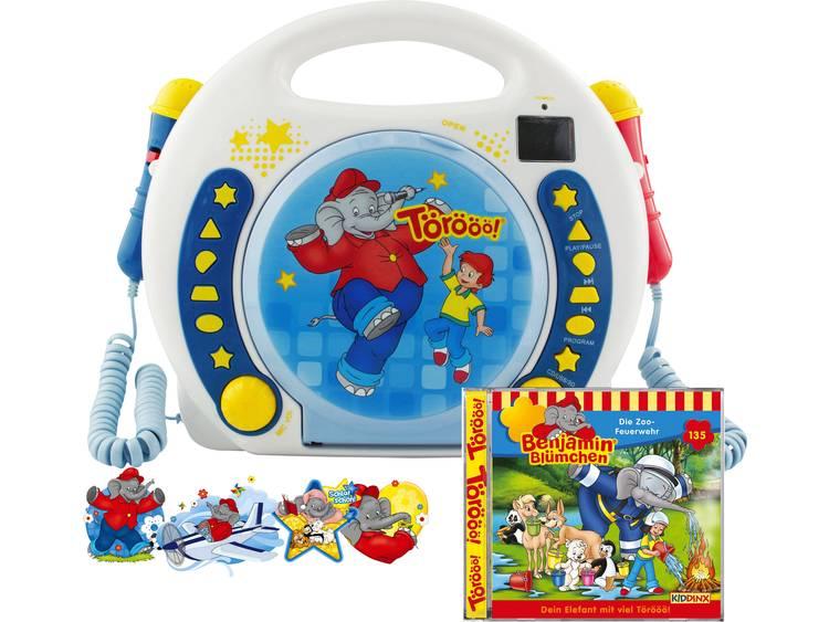 X4-Tech Bobby Joey Benjamin Blümchen Barn CD-spelare CD, SD, USB inkl. Karaoke-Funktion, inkl. mikrofon Blå, Vit