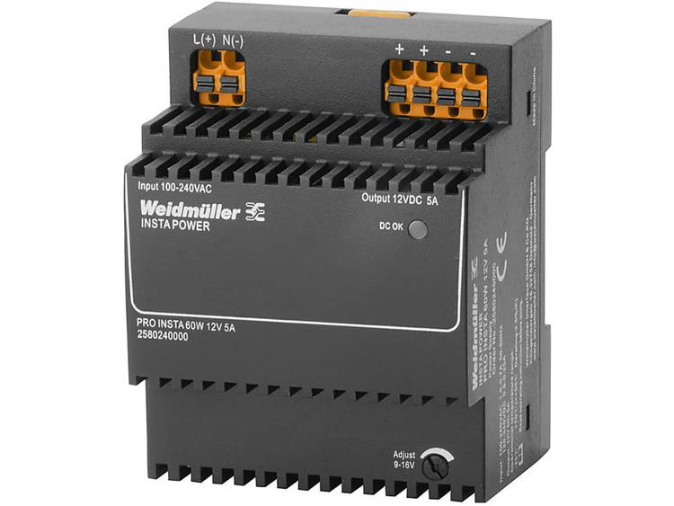 Weidmüller PRO INSTA 60W 12V 5A Switching Power Supply 12 V/DC 5 A 60 W