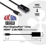 Club 3D Mini DisplayPort 1.4 do HDMI 2.0b HDR aktívny adaptér